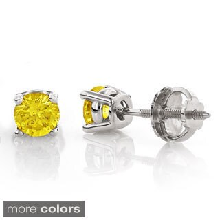 Luxurman 14k White Gold 1/2ct TDW Yellow Diamond Stud Earrings (Yellow, SI1-SI2)