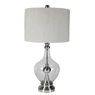 JT Lighting Brushed Nickel with Clear Glass Table Lamp