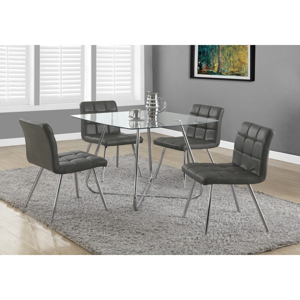 Shop Grey Faux Leather Chrome Metal Dining Chairs Set Of