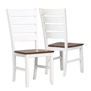 Oak Wood White Ladder Back 40-inch Side Chairs (Set of 2)