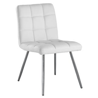White Faux Leather Chrome Metal Dining Chair (Set of 2)