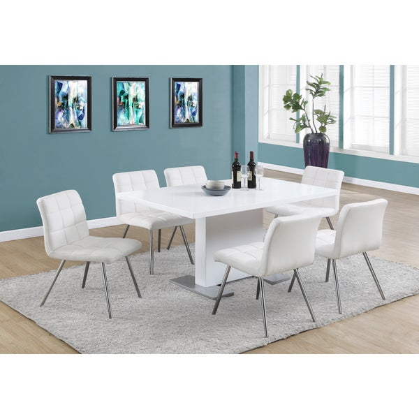 White Leather Kitchen Chairs: White Faux Leather Chrome Metal Dining Chair (Set Of 2