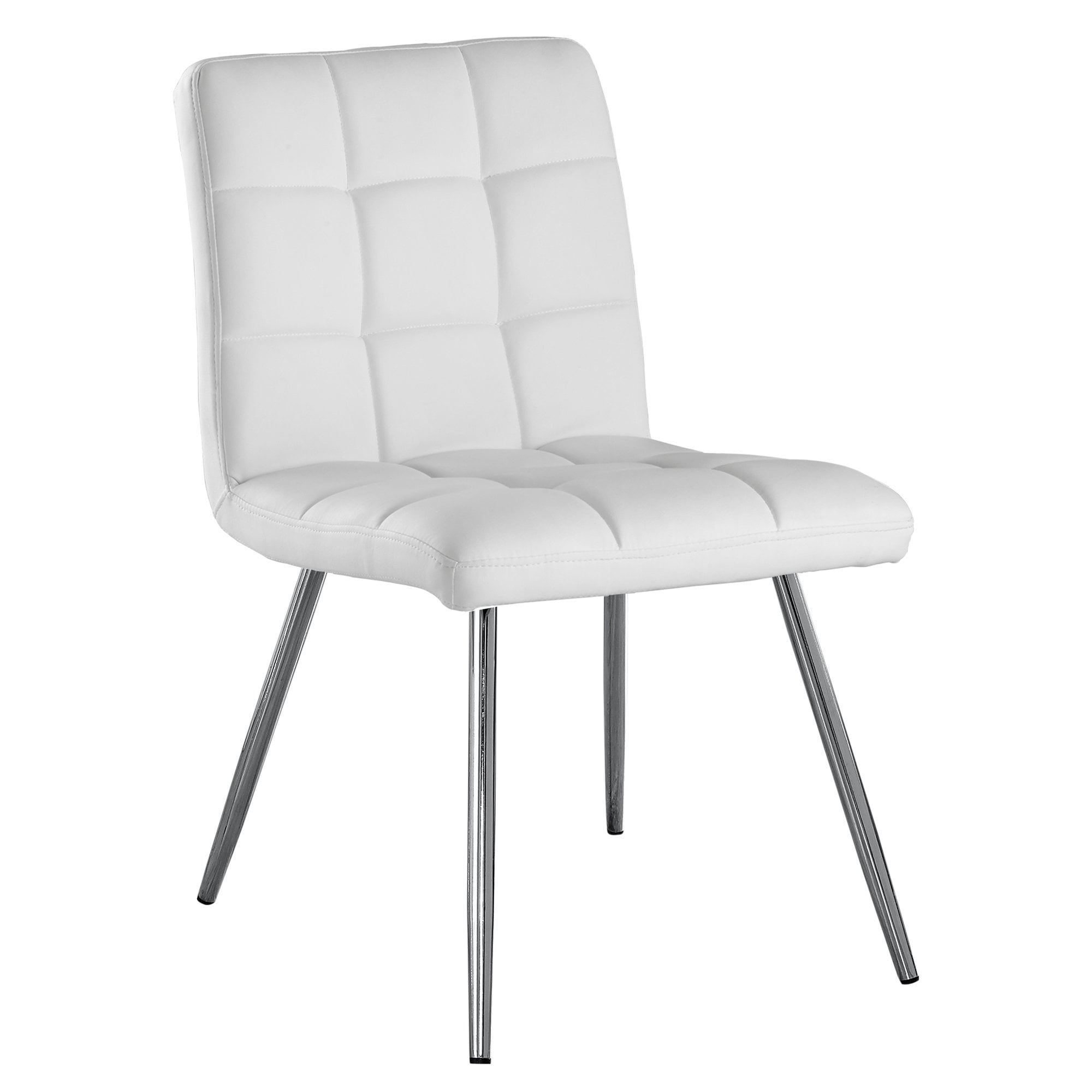 White Faux Leather Chrome Metal Dining Chair Set Of 2 On Sale Overstock 9672664