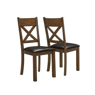 Dark Brown Walnut Faux Leather Dining Chairs (Set of 2)