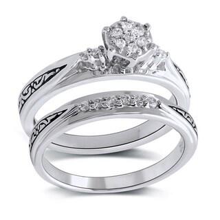 Bridal Symphony 10k White Gold 1/6ct TDW Diamond Filigree Bridal Set (I-J, I2-I3)