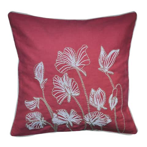 Beaded Lilly Flower Feather and Down Filled Throw PIllow