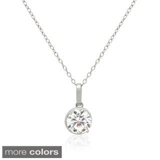 Gioelli 14k Gold Prong-set Cubic Zirconia Pendant Necklace