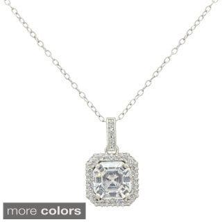 Gioelli 14k Gold Asscher-cut Cubic Zirconia Halo Pendant Necklace