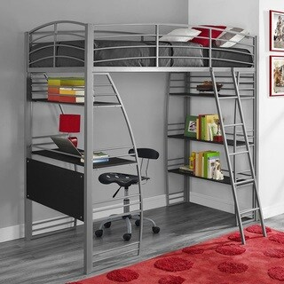 Avenue Greene Sansa Twin Loft Bed with Integrated Desk and Shelves - Silver