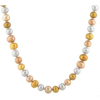 Sterling Silver Freshwater Gold, Multicolor Pearl Necklace (8.5-9.5 mm)