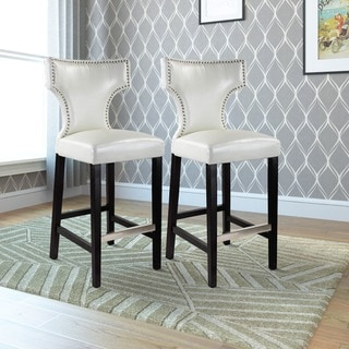 Link to Gracewood Hollow Orbelyan Bar-height Barstool with Metal Studs (Set of 2) Similar Items in Dining Room & Bar Furniture