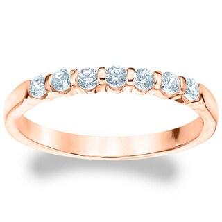 Amore 14k or 18k Rose Gold 1/2ct TDW 7-Stone Bar Machine-Set Diamond Band (G-H, SI1-SI2)