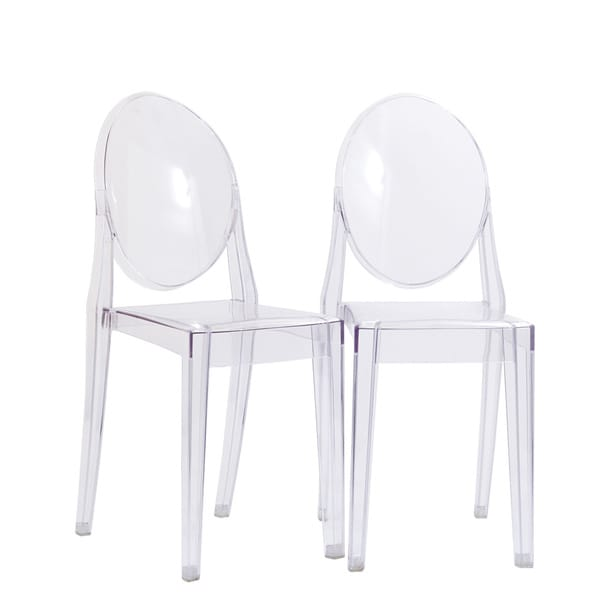 Edgemod Burton Ghost Style Clear Side Chair (Set of 2)