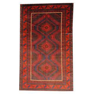 Herat Oriental Semi-antique Afghan Hand-knotted Tribal Balouchi Blue/ Brown Wool Rug (5'10 x 9'9)