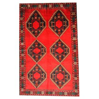 Herat Oriental Semi-antique Afghan Hand-knotted Tribal Balouchi Red/ Navy Wool Rug (6' x 9'6)