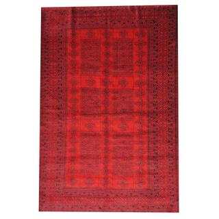 Herat Oriental Semi-antique Afghan Hand-knotted Tribal Balouchi Red/ Black Wool Rug (6'4 x 9'6)