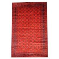 Handmade Herat Oriental Semi-antique Afghan Tribal Balouchi Red/ Brown Wool Rug (Afghanistan) - 6'8 x 10'3