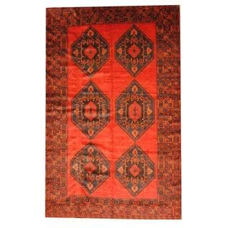 Herat Oriental Semi-antique Afghan Hand-knotted Tribal Balouchi Rust/ Blue Wool Rug (6'7 x 10'6)
