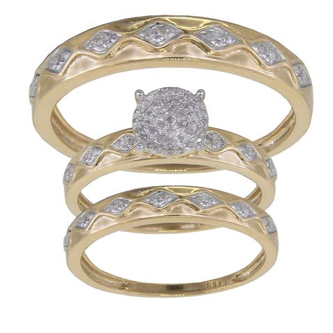 14K White or Yellow Gold 1/4ct TDW His and Hers Matching Bridal Set GH/I1-I2