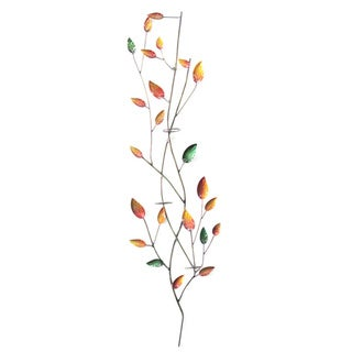 Handmade Iron Leaves Wall Decor with Votive Holder New Colors (Indonesia)