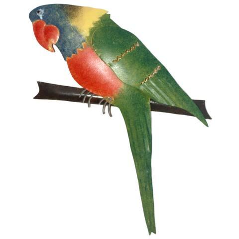 D-Art Collection Iron Green Parrot Wall Decor
