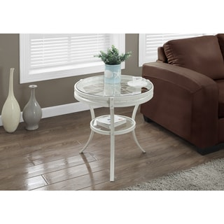 Antique White Accent Table with Tempered Glass