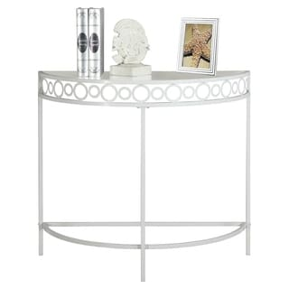 White Metal 36-inch Hall Console Accent Table