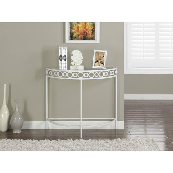 White Metal 36 Inch Hall Console Accent Table Free