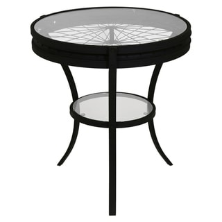 Hammered Black Accent Table with Tempered Glass