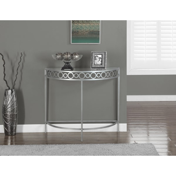 Silver Metal Hall Console Accent Table Free Shipping