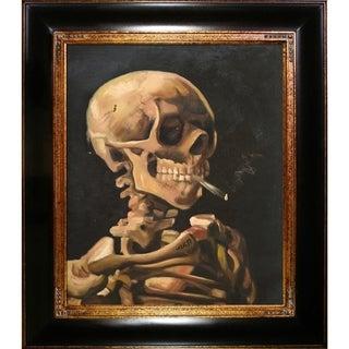 Vincent Van Gogh 'Skull of a Skeleton with Burning Cigarette' Hand Painted Framed Canvas Art
