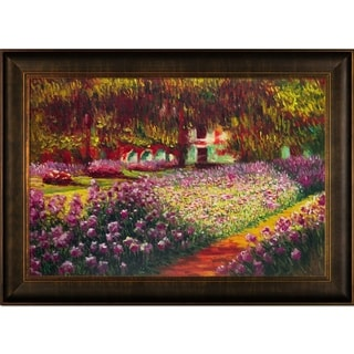 Claude Monet 'Artist's Garden at Giverny' Hand Painted Reproduction Framed Canvas Art