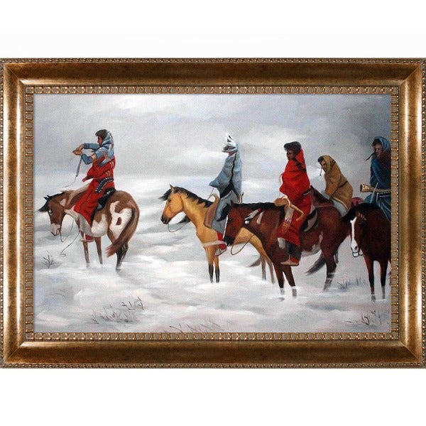 Charles Marion Russell 'Lost in a Snowstorm' Hand Painted Framed Canvas Art