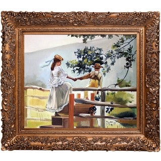 Winslow Homer 'On the Stile' Hand Painted Framed Canvas Art