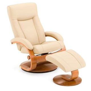 Hamar-C Cobblestone Top Grain Leather Swivel Recliner and Ottoman