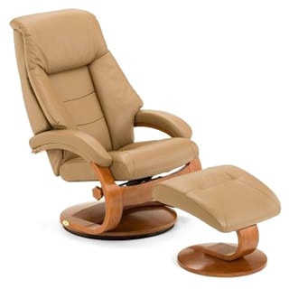 Mandel-S Sand Top Grain Leather Swivel Recliner with Ottoman