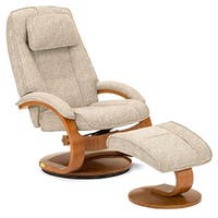 Teatro Tan Linen Swivel Recliner with Ottoman