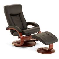 Hamar-B Black Top Grain Leather Swivel Recliner and Ottoman