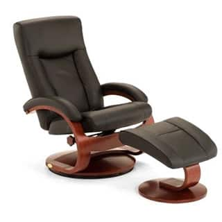 Brand Mac Motion Chairs Hamar B Black Top Grain Leather Swivel Recliner And Ottoman