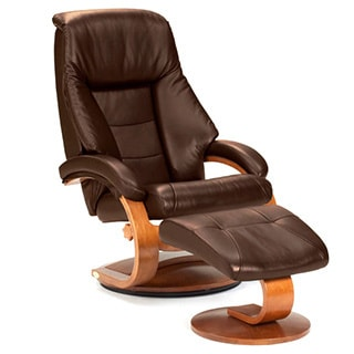 Mandel E Espresso Top Grain Leather Swivel Recliner With Ottoman