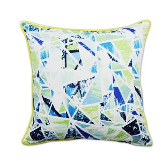 Artistic Decorative Feather Filled Throw Pillow with Neon Piping