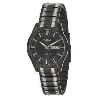 Pulsar Men's 'Traditional' Stainless Steel Black Ion Plated Quartz Watch|https://ak1.ostkcdn.com/images/products/9673654/P16853812.jpg?impolicy=medium