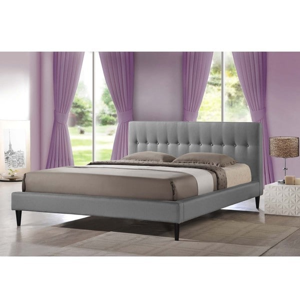 Baxton Studio Lily Modern Button Tufted Platform Bed Queen Size