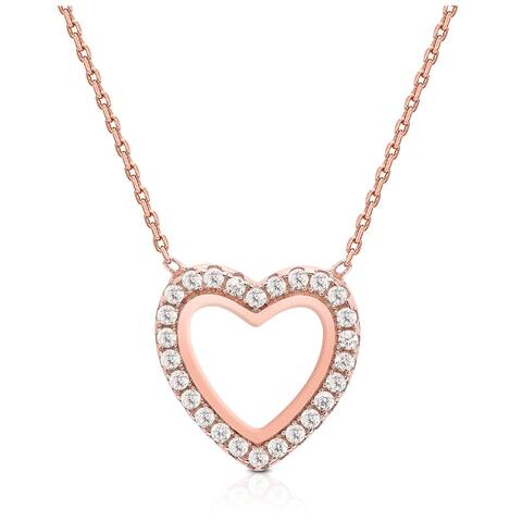 Dolce Giavonna Rose Gold Over Sterling Silver Cubic Zirconia Open Heart Necklace