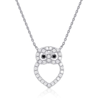 Dolce Giavonna Sterling Silver Cubic Zirconia Open Owl Necklace