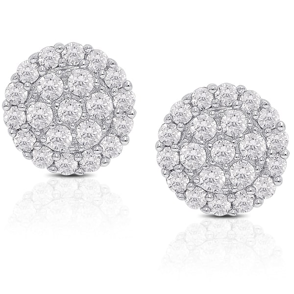 Dolce Giavonna Sterling Silver Cubic Zirconia Cluster Stud Earrings