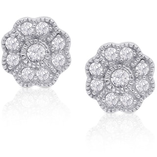 Dolce Giavonna Sterling Silver Cubic Zirconia Flower Stud Earrings