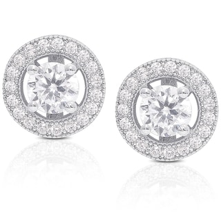 Dolce Giavonna Sterling Silver Cubic Zirconia Circle Stud Earrings