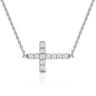 Dolce Giavonna Sterling Silver Cubic Zirconia Sideways Cross Necklace