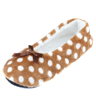 Leisureland Women's Polka-dotted Cozy Slippers